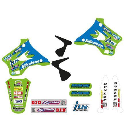 _Tecnosel Decal Kit + Seat Cover Replica Team Kawasaki 1996 KX 125/250 94-98   84V01   Greenland MX_