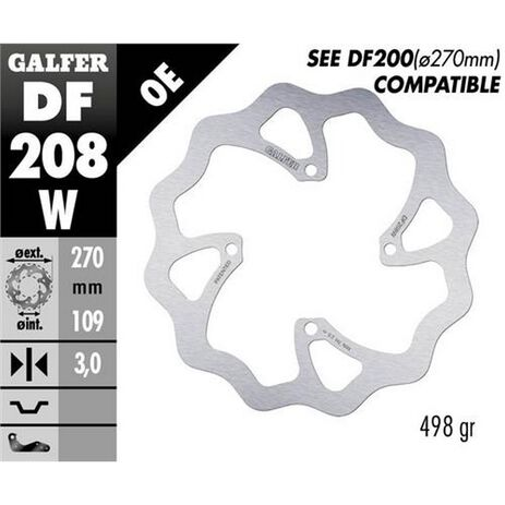 _Disco Freno Delantero Galfer Floreado Kawasaki KX 250/450 F 250 15-.. 270x3 mm | DF208W | Greenland MX_