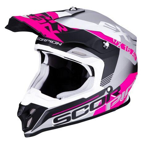 _Scorpion VX-16 Air Arhus Mate Helmet Grey/Pink | 46-266-219 | Greenland MX_